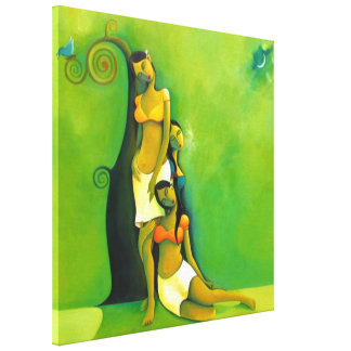 Damsels by night - acrylic painting- customizable stretched canvas prints