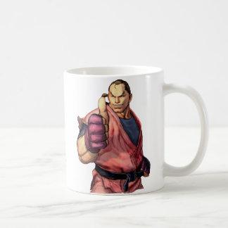 Dan con el pulgar para arriba tazas de café