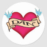 Dan - Custom Heart Tattoo T-shirts & Gifts Round Sticker