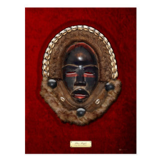 Dan Peoples Dean Gle Mask [Ivory Coast] on Red Vel Postcard