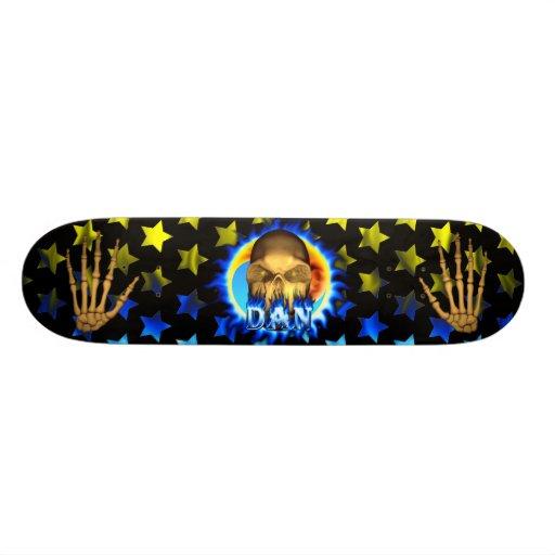 Dan skull blue fire and flames skateboard design.