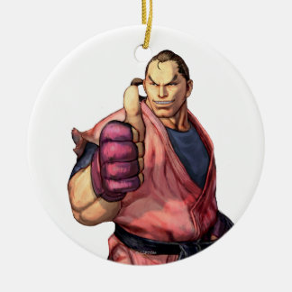 Dan With Thumb Up Double-Sided Ceramic Round Christmas Ornament