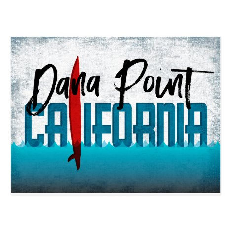 California Surfing Postcards - Red Surfboard
