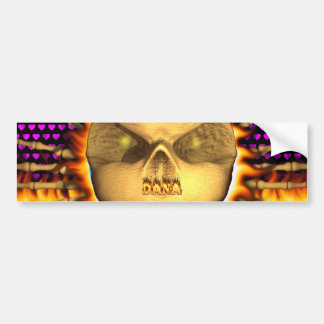 Dana skull real fire and flames bumper sticker. bumper sticker