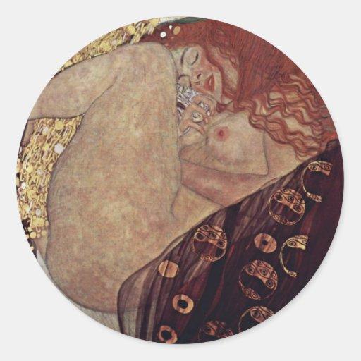 Danae By Klimt Gustav Classic Round Sticker