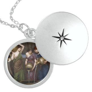 Danaides by John William Waterhouse Round Locket Necklace