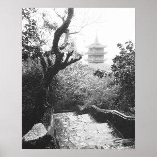 Danang Vietnam, montaña del mármol de la opinión d Póster
