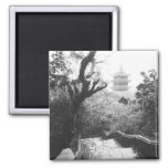 Danang Vietnam, Temple View Marble Mountain 2 Inch Square Magnet