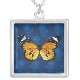 Danaus chrysippus butterfly square pendant necklace