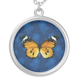 Danaus chrysippus butterfly round pendant necklace