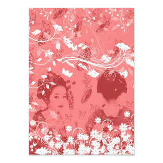 """Dance 妓 with flower and invitation cat 5"""" x 7"""" invitation card"""