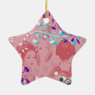 Dance 妓 with flower and invitation cat 3 ceramic ornament