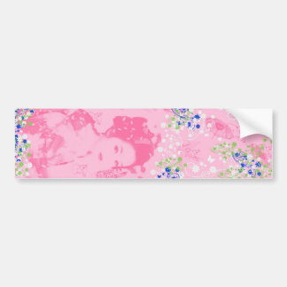 Dance 妓 with flower and invitation cat bumper sticker