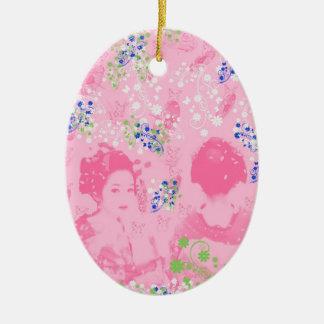 Dance 妓 with flower and invitation cat ceramic ornament
