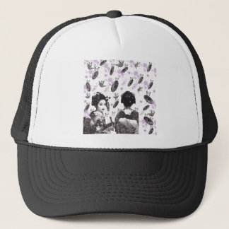 Dance 妓 with flower and invitation cat trucker hat