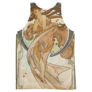 Dance (1898), Alphonse Mucha Fine Art Nouveau All-Over Print Tank Top