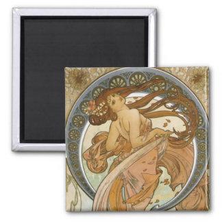Dance (1898), Alphonse Mucha Fine Art Nouveau Fridge Magnet