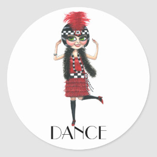 Dance 1920s Costume Big Eye Flapper Girl Classic Round Sticker