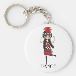 Dance 1920s Costume Big Eye Flapper Girl Keychain