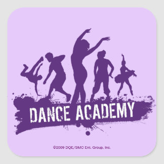 Dance Acadmey Dancer Silhouettes Logo Square Sticker