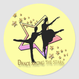 Dance Among Stars Round Stickers