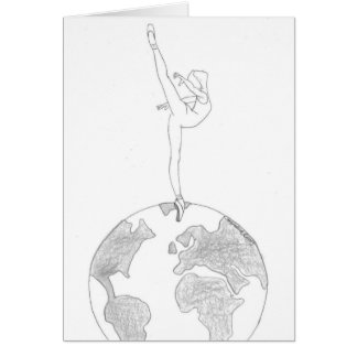 Dance around the world B&W Card