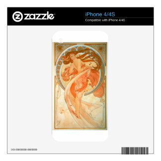 """Dance"" -  Art Nouveau - Alphonse Mucha iPhone 4S Decals"