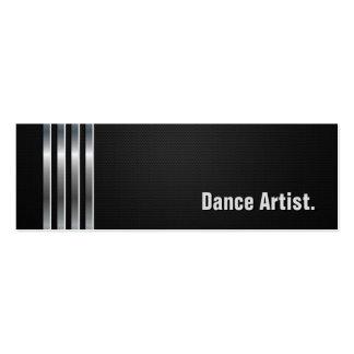Dance Artist - Black Silver Stripes Business Card