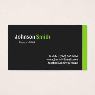 Dance Artist - Modern Minimalist Green Business Card