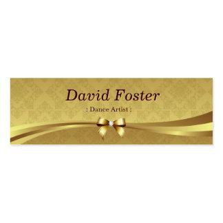 Dance Artist - Shiny Gold Damask Business Card Template