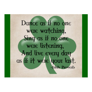 Dance as if :: Irish Proverb (Black Design) Postcard