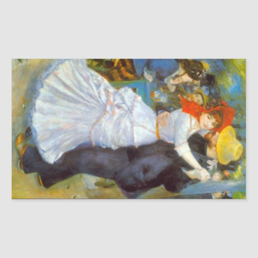Dance at Bougival by Pierre Renoir Rectangular Stickers