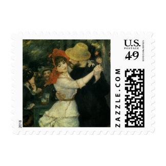 Dance at Bougival by Pierre Renoir, Vintage Art Postage