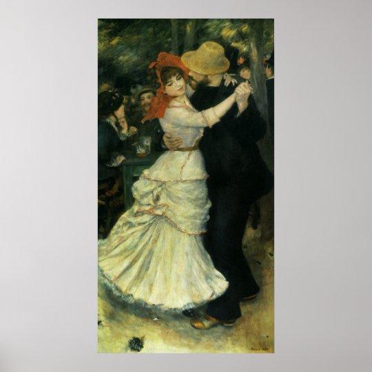 Dance at Bougival by Pierre Renoir, Vintage Art Poster