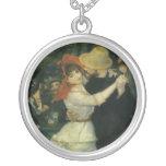 Dance at Bougival by Pierre Renoir, Vintage Art Round Pendant Necklace