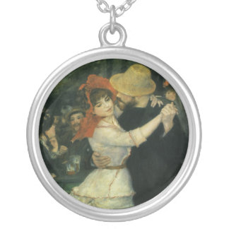 Dance at Bougival by Pierre Renoir, Vintage Art Silver Plated Necklace