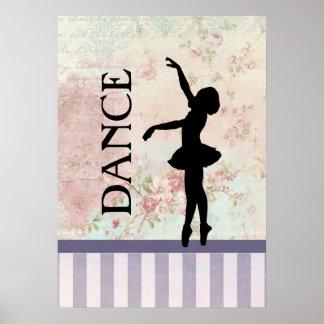 Dance - Ballerina Silhouette on Vintage Background Poster