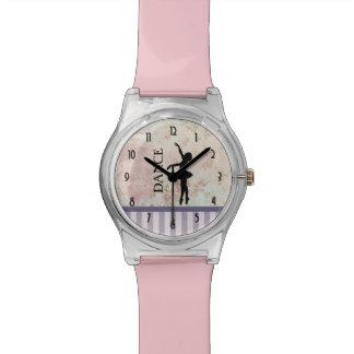 Dance - Ballerina Silhouette on Vintage Background Wrist Watches