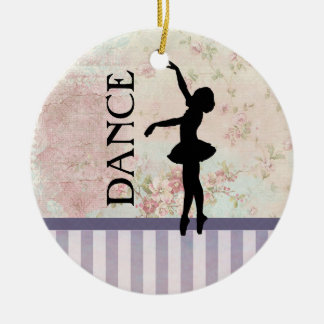 Dance - Ballerina Silhouette Vintage Background Ceramic Ornament