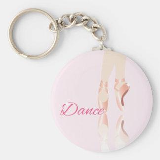 Dance Ballet Slippers Basic Round Button Keychain