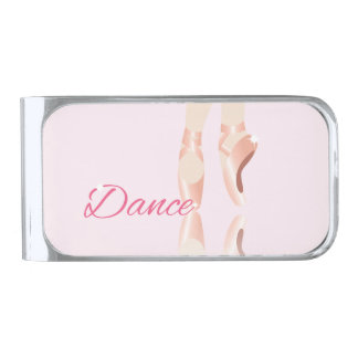 Dance Ballet Slippers Silver Finish Money Clip