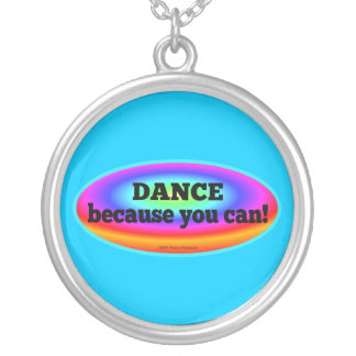 Dance Because You Can Psychedelic Colors Oval Necklace