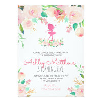 Dance birthday, ballerina, birthday invitation
