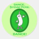 Dance, Birthday Pickle, Dance! Round Stickers