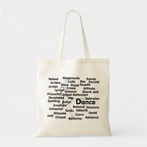 Dance Blk Ltrs Ballet dancer background Budget Tote Bag