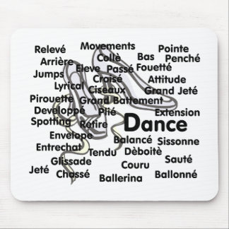 Dance Blk Ltrs ballet shoes background Mouse Pad