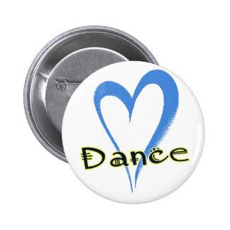 Dance blue heart 2 inch round button