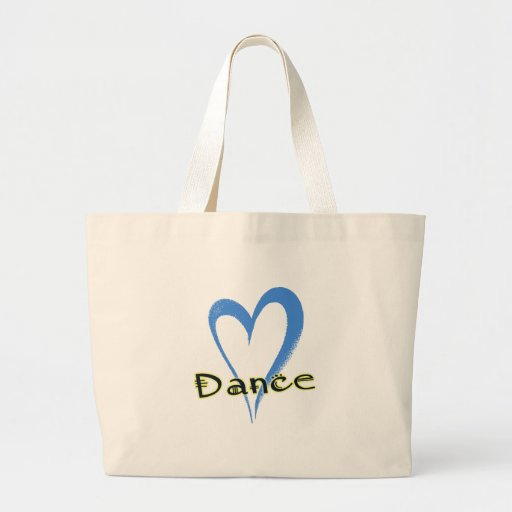 Dance blue heart large tote bag