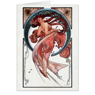 Dance by Alfons Mucha 1898 Greeting Card