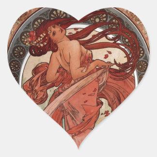 Dance by Alphons Mucha Heart Sticker